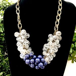 J. CREW blue & clear crystal bauble necklace NWT